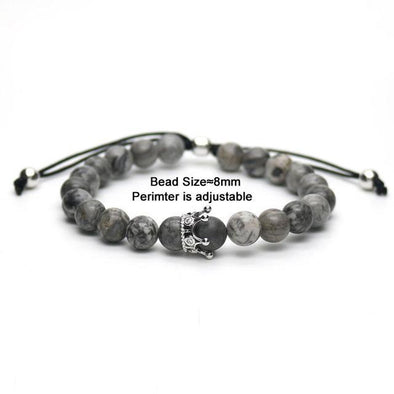 Adjustable grey crown bracelet