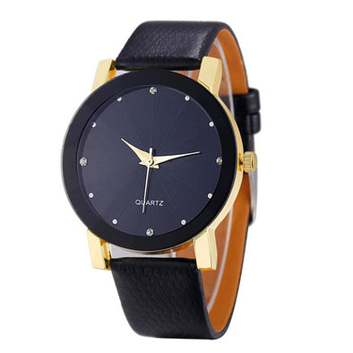 Quartz stainless watch leather band