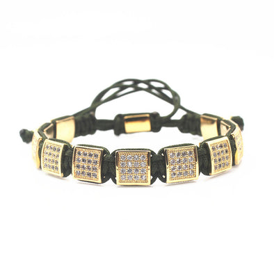 Leather diamond square bracelet