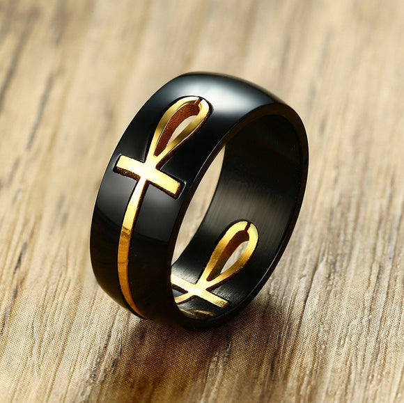 Egyptian Black & Gold Cross Ring