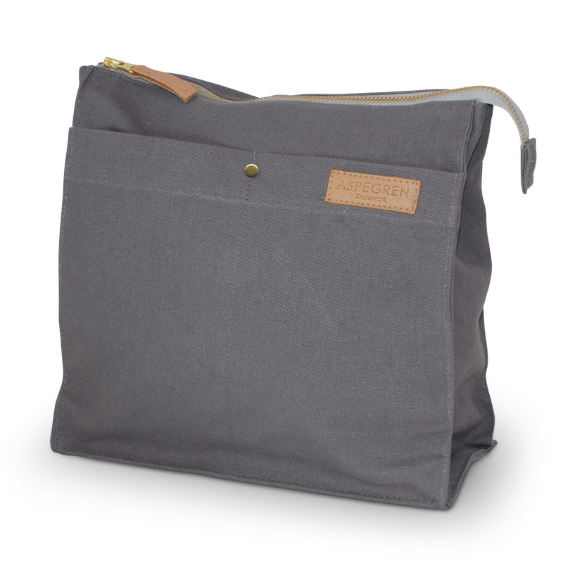 Aspegren Grosse Kosmetiktasche aus Canvas in grau dark grey