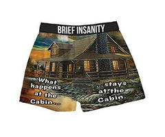 Brief Insanity What Happens at The Cabin Stays Silky Funny Boxer Shorts Gifts Men Women