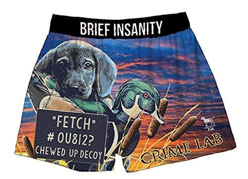Brief Insanity Crime Lab Dog Lovers American Fido Silky Boxer Shorts Gifts for Men Women