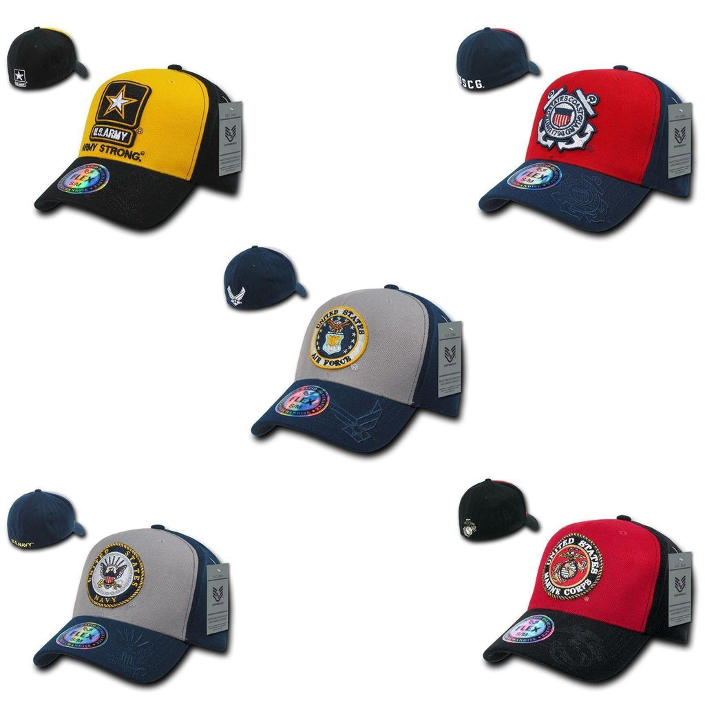 1 Dozen Air Force Marines Navy Army Coast Guard Flex Fit Baseball Hats Caps Wholesale Lots