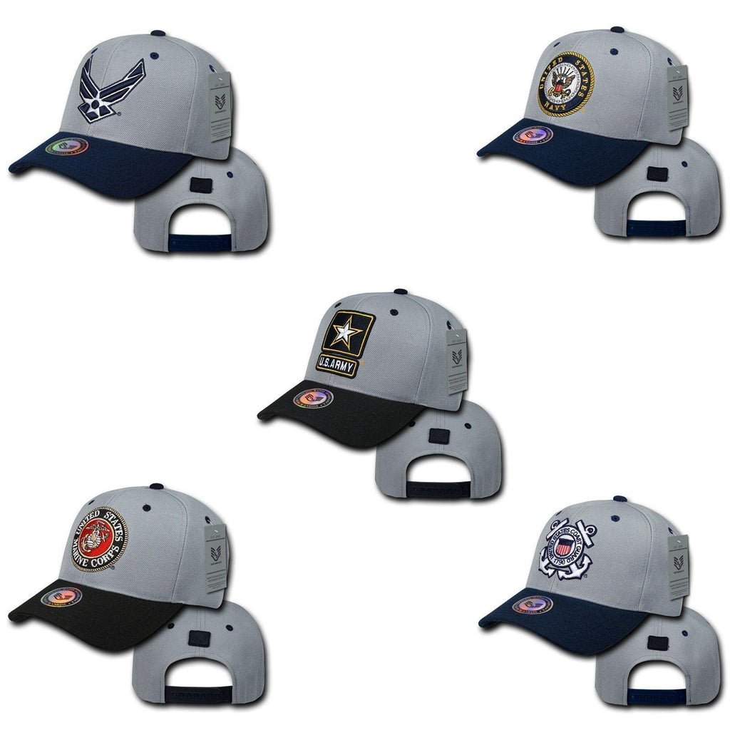 1 Dozen Air Force Navy Coast Guard Army Marines Workout Baseball Hats Caps Wholesale Lots