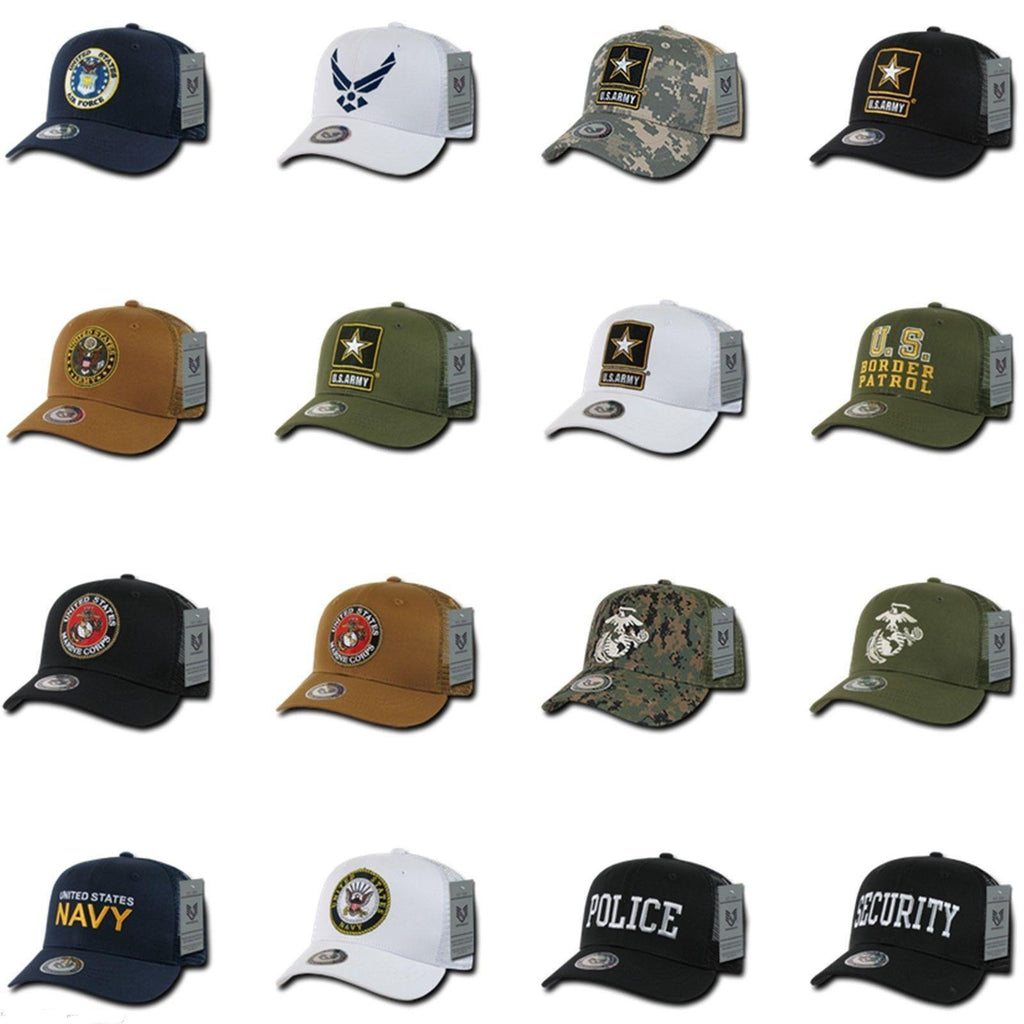 1 Dozen Army Air Force Navy Marines Police Security Trucker Hats Caps Wholesale Lots