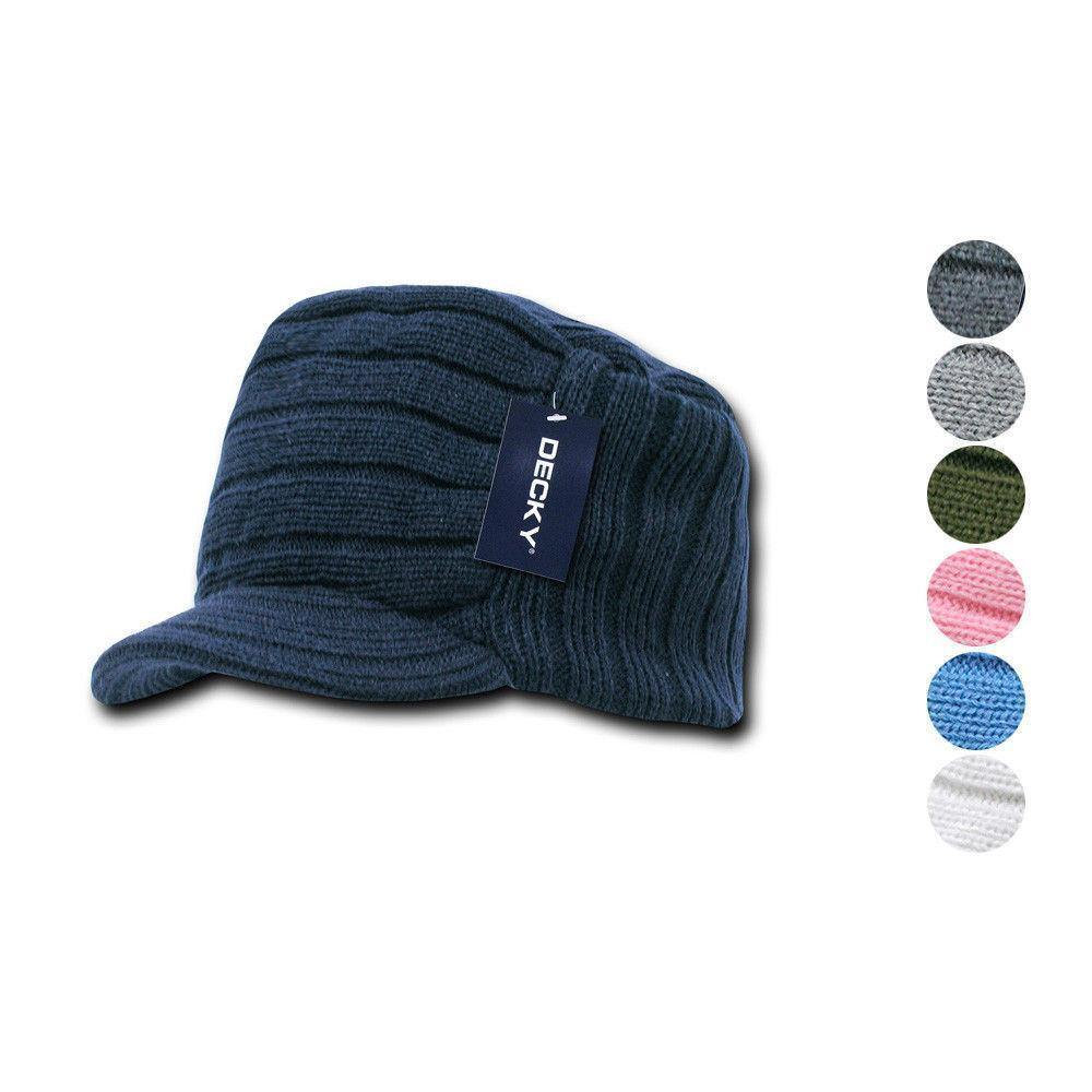 1 Dozen Beanies Knitted Flat Top Warm Ribbed Ski Gi Jeep Cap Wholesale Lots
