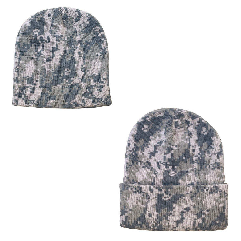 a972411187fd80 1 Dozen Grey Pixel Camo Camouflage Winter Beanies Hats Caps Wholesale Lot