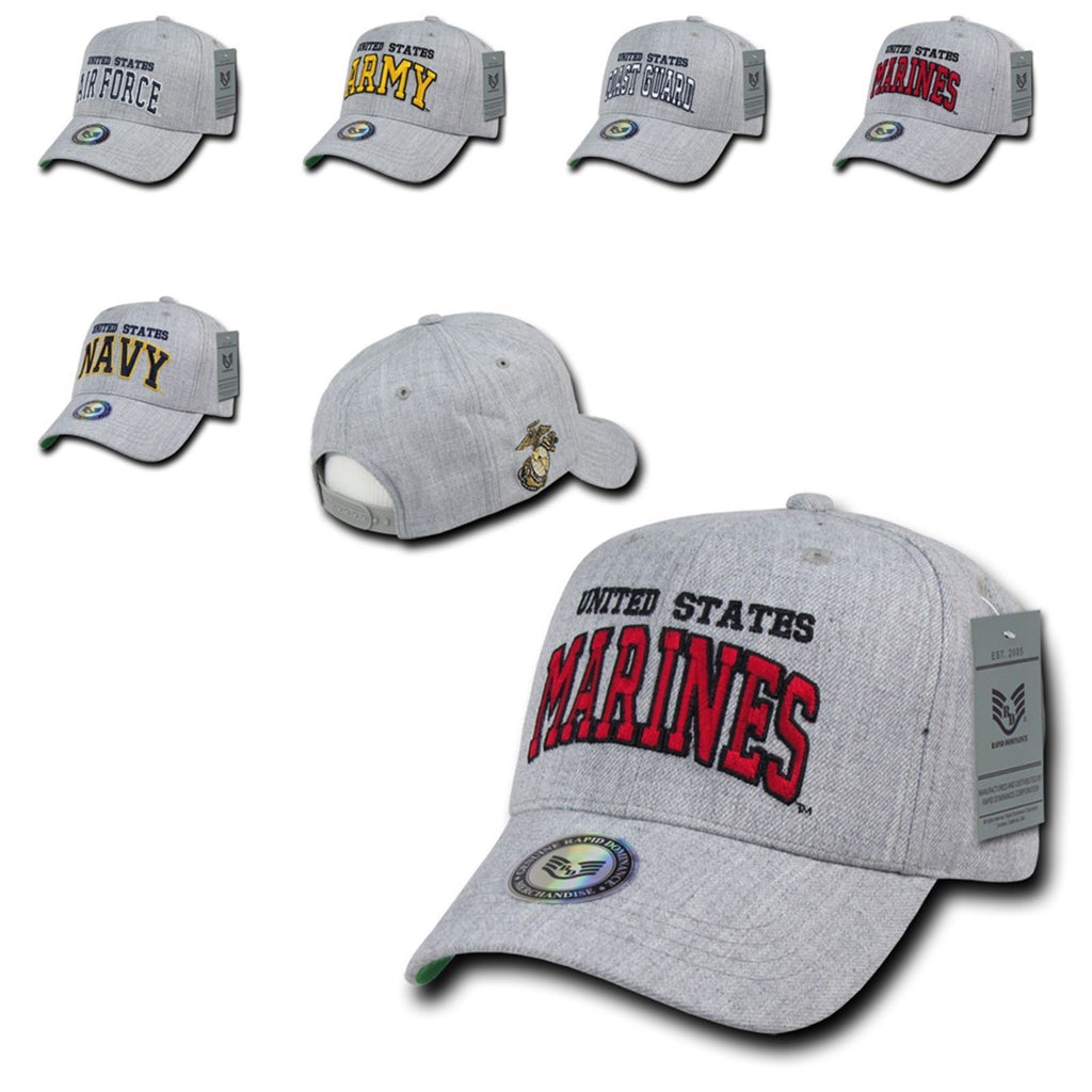 1 Dozen Military Air Force Navy Coast Guard Army Marines Grey Baseball Hats Caps