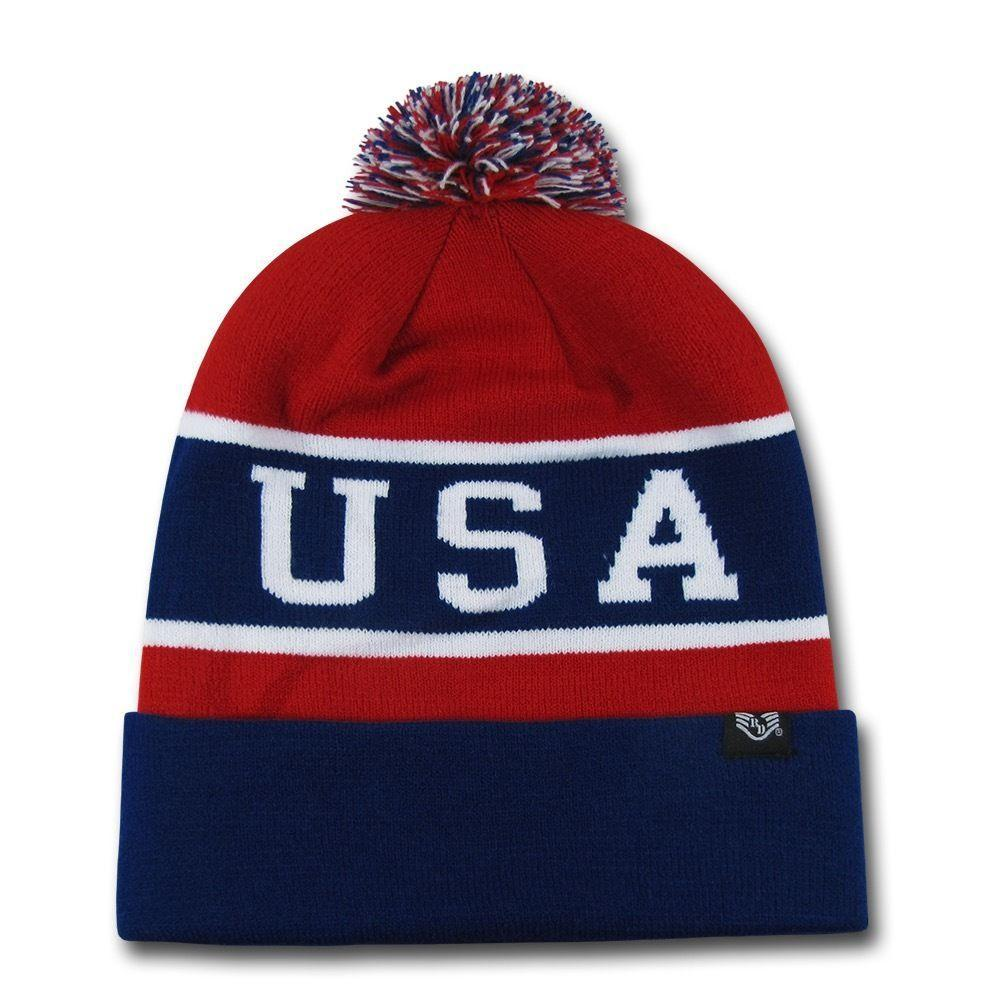 1 Dozen USA Flag America Beanies Pom Knit Watch Hats Caps Winter Wholesale Lots