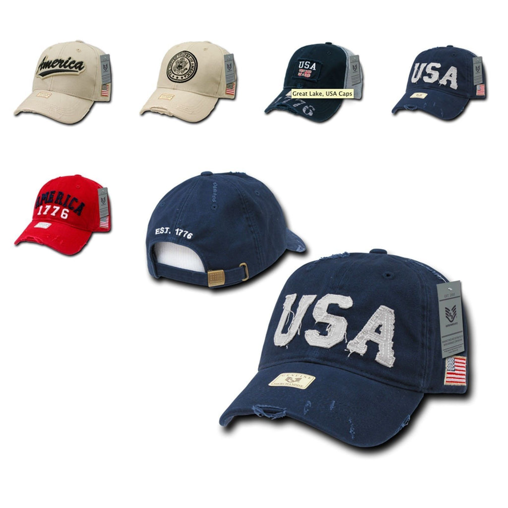 1 Dozen Rapid Dominance USA Flag Vintage America American Distressed Baseball Caps Hats