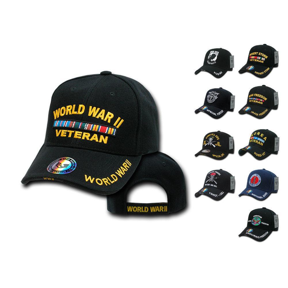 1 Dozen Veteran Vet Pow US Military Baseball Hat Caps Wholesale Lots
