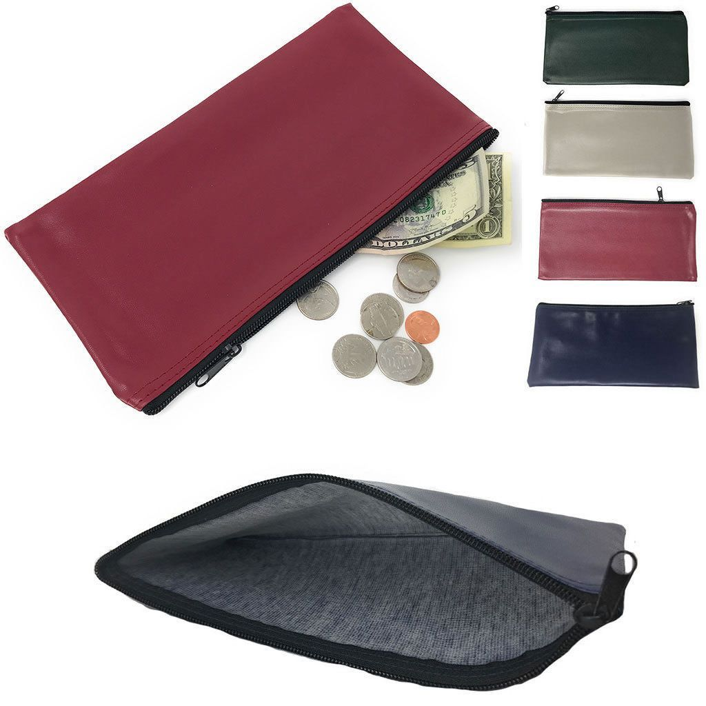 1 Dozen Zippered Bank Deposit Carry Pouch Bags Safe Money Organizer Wholesale