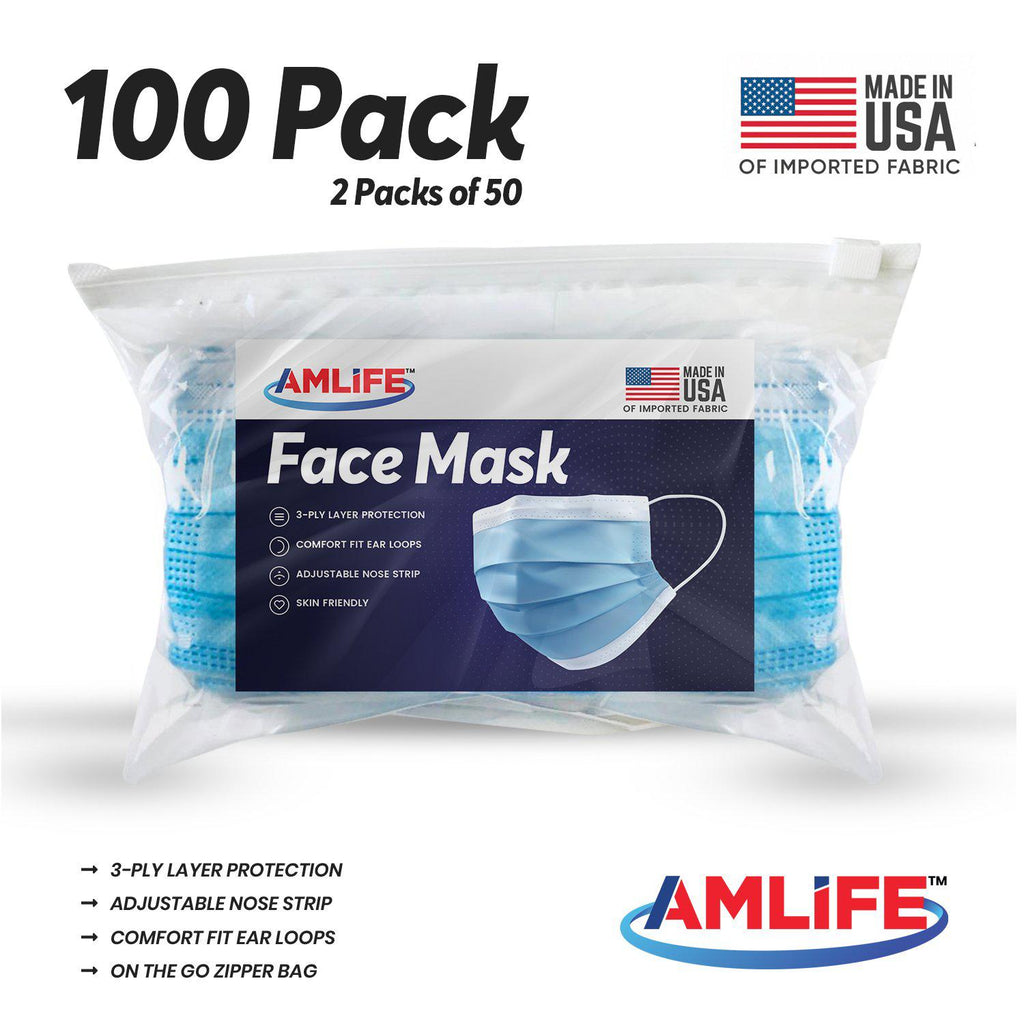 Amlife 100 Pack Face Mask Protective Covering Blue 3-Ply Layer Made in USA Imported Fabric