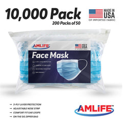 Amlife 10000 Pack Face Mask Protective Covering Blue 3-Ply Layer Made in USA Imported Fabric