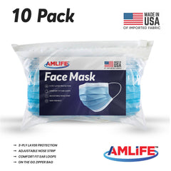 Amlife 10 Pack Face Mask Protective Covering Blue 3-Ply Layer Made in USA Imported Fabric