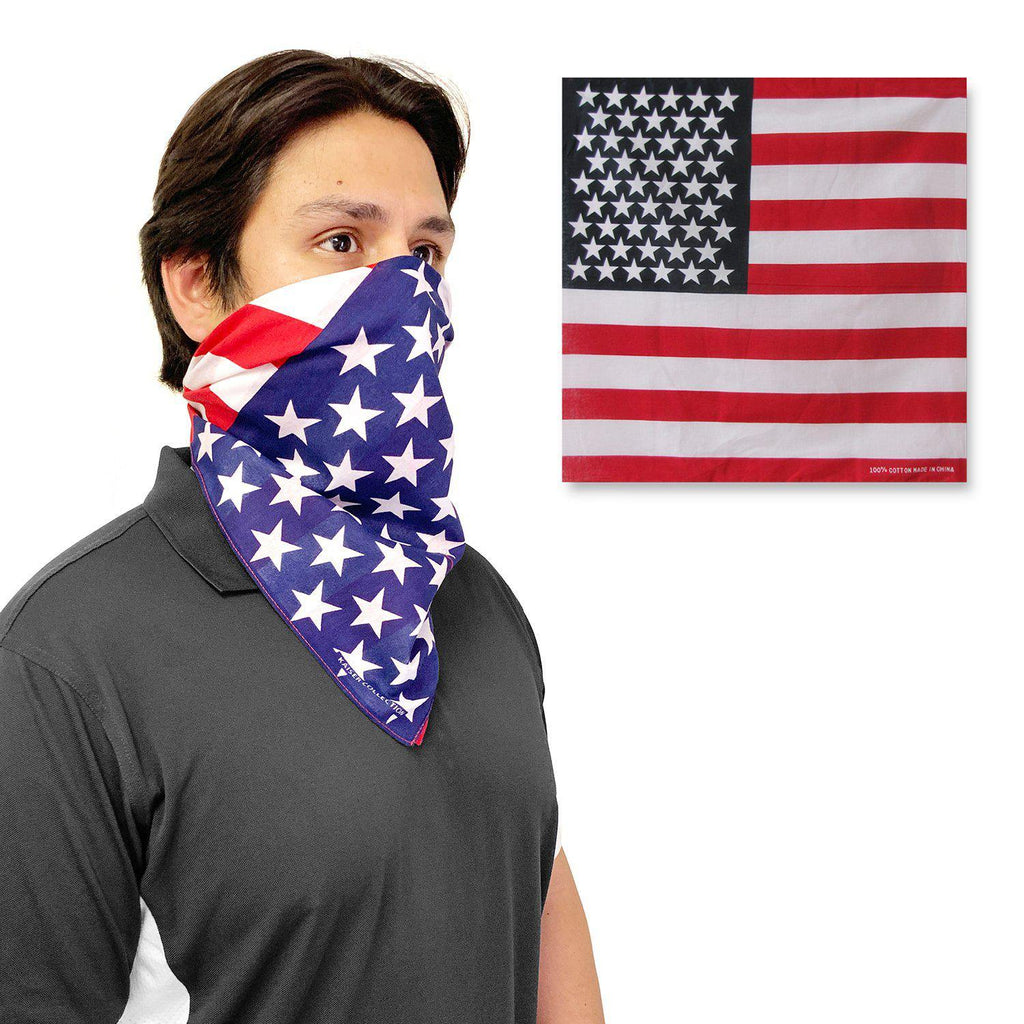 1 Dozen Bandanas USA American Flag Singlesided 100% Cotton Head Wrap Scarf Wholesale Bulk