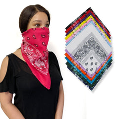 Bandanas 100% Cotton Double-Sided Printed Paisley Cloth Scarf Wrap Face Mask Cover