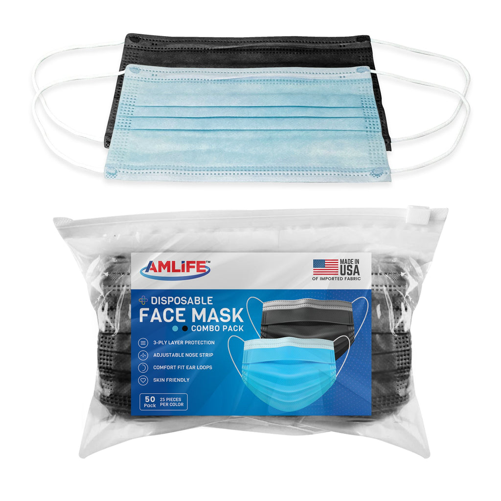 AMLIFE 50 Pack Face Masks Blue-Black Combo 3-Ply Filter - Made in USA with Imported Fabric