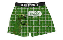 Brief Insanity Let Go My Gecko Silky Funny Boxer Shorts Gifts for Men Women