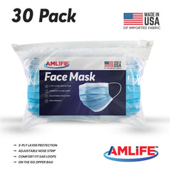 Amlife 30 Pack Face Mask Protective Covering Blue 3-Ply Layer Made in USA Imported Fabric