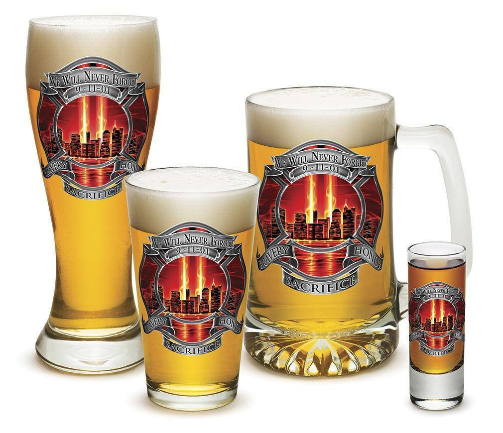 4 Piece Glass Gift Set For Men Dad Firefighters Red Tribute Honor Firemen