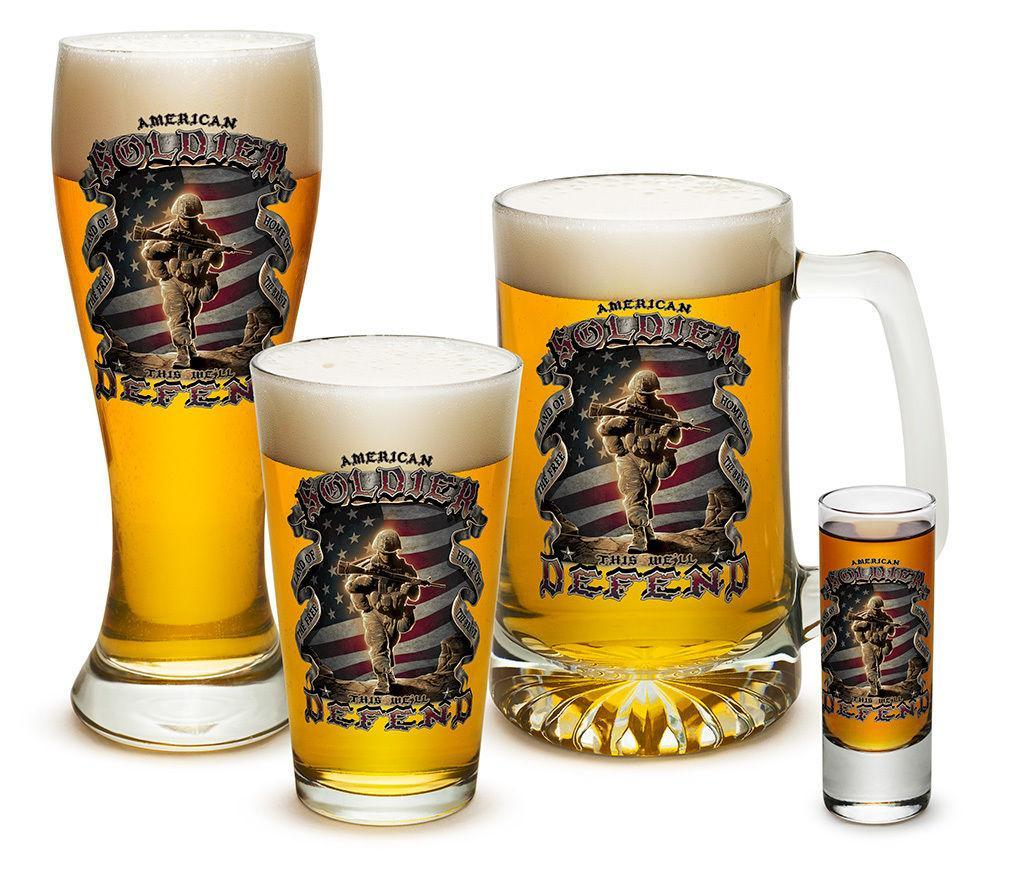 4 Piece Glass Gift Set For Men Dad Veteran Military US American Heroes Soldiers