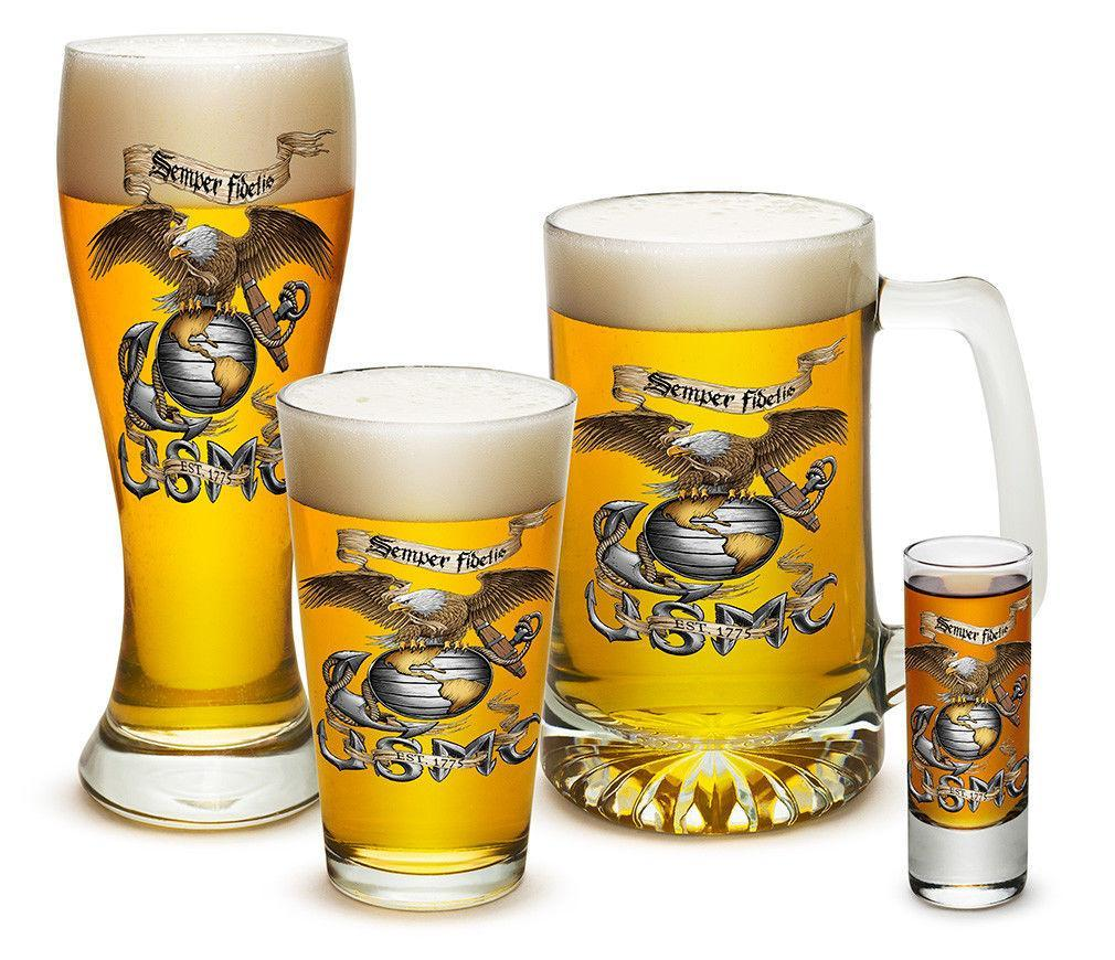 4 Piece Glass Gift Set For Men Dad Veterans Military USmc Semper Fi Eagle Beer