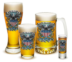 4 Piece Glass Gift Set For Men Dad Veterans United States Navy Full Print Eagle
