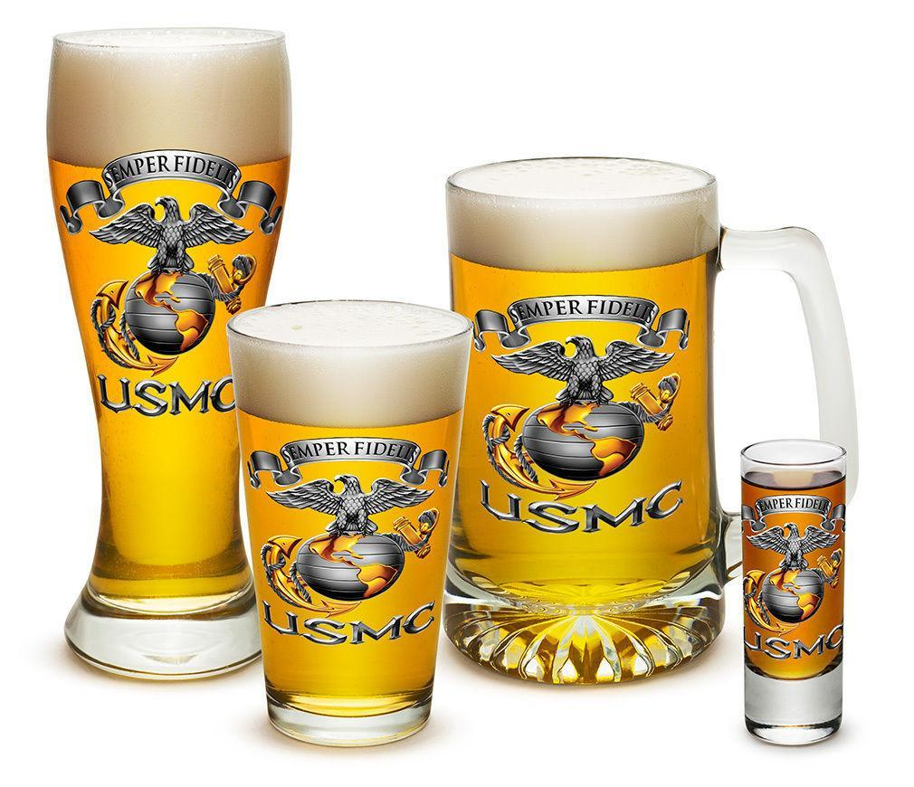 4 Piece Glass Gift Set For Men Dad Veterans USmc Marine Corps Semper Fidelis
