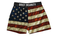 Brief Insanity American USA Flag Silky Patriotic Mens Unisex Boxer Shorts Gifts