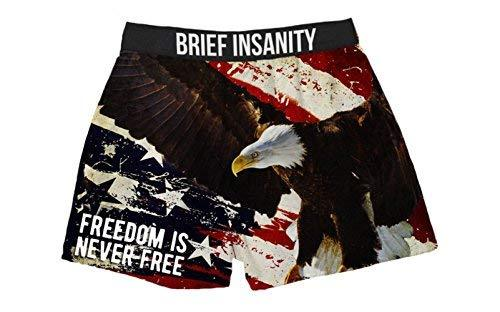 Brief Insanity Freedom is Never Free Patriotic Boxer Shorts Gifts for Men Women