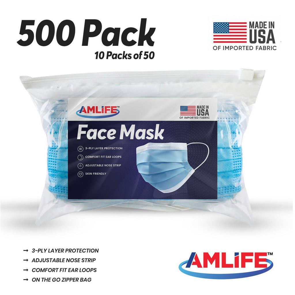 Amlife 500 Pack Face Mask Protective Covering Blue 3-Ply Layer Made in USA Imported Fabric
