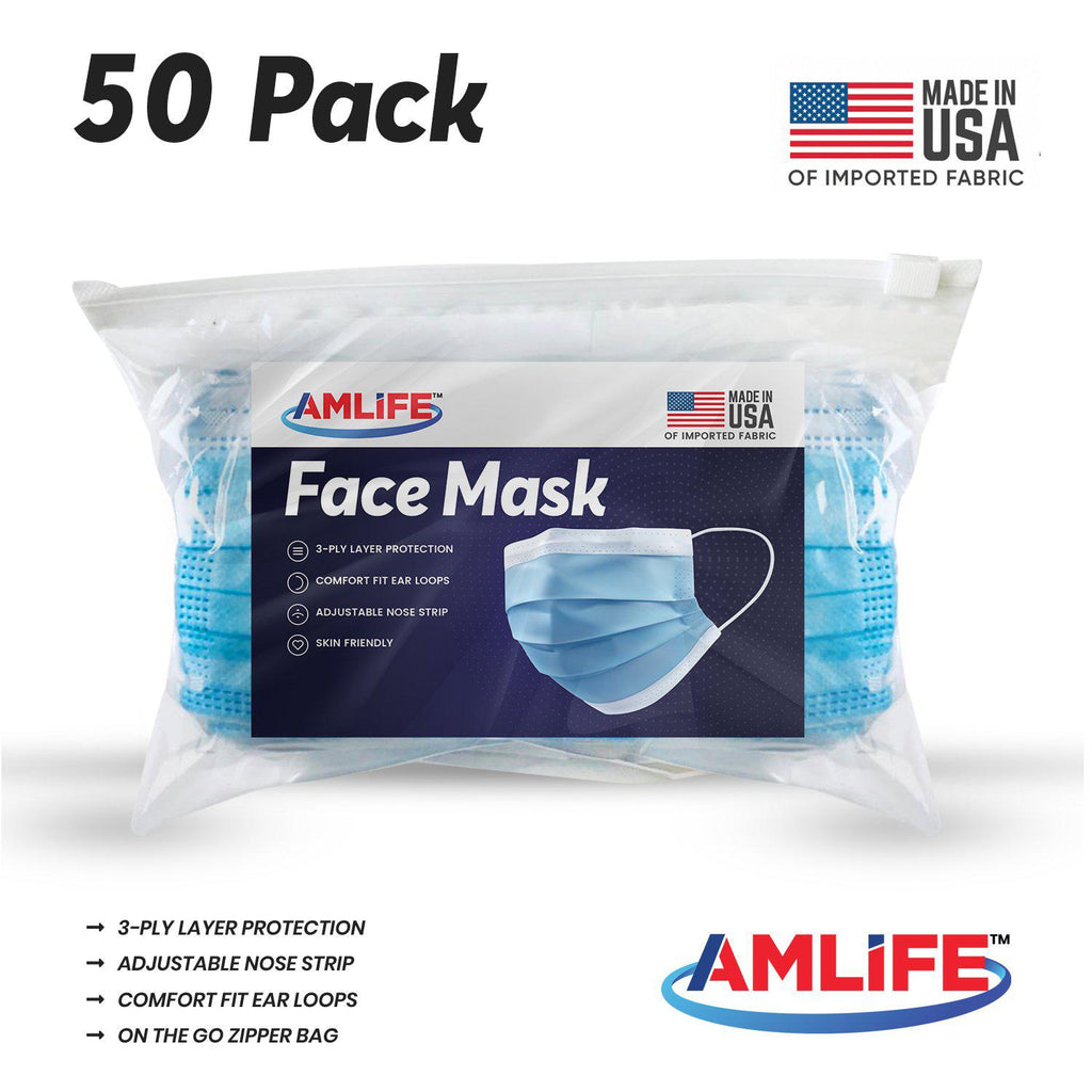 Amlife 50 Pack Face Mask Protective Covering Blue 3-Ply Layer Made in USA Imported Fabric