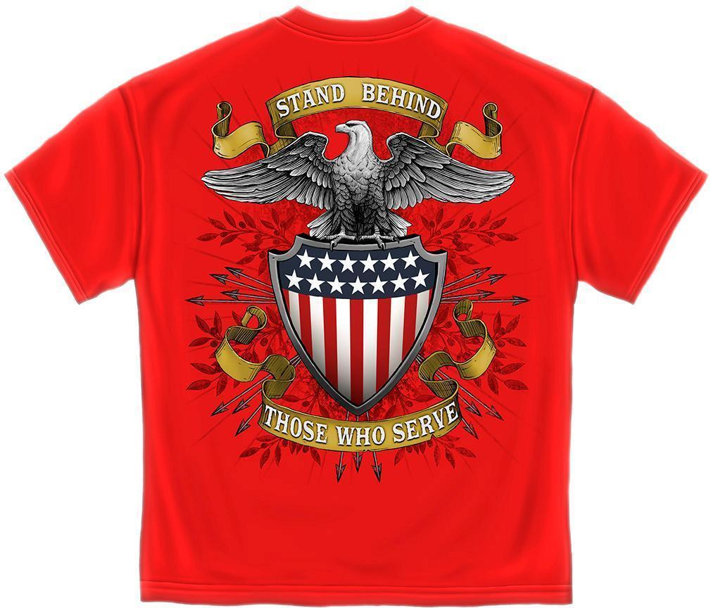 Erazor Bits T-Shirt - Stand Behind Those Who Serve - American Eagle Flag - Red