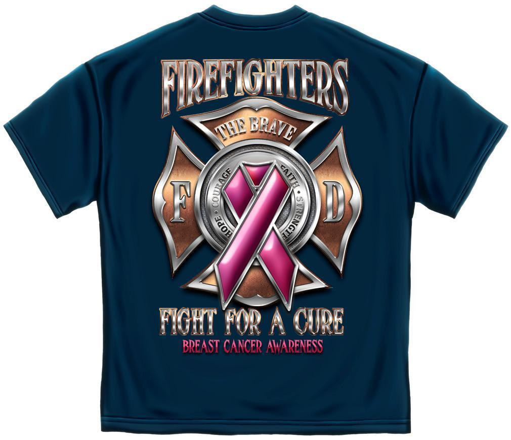 Firefighters Fight For A Cure Breast Cancer Awareness Pink Ribbon T-Shirt Unisex