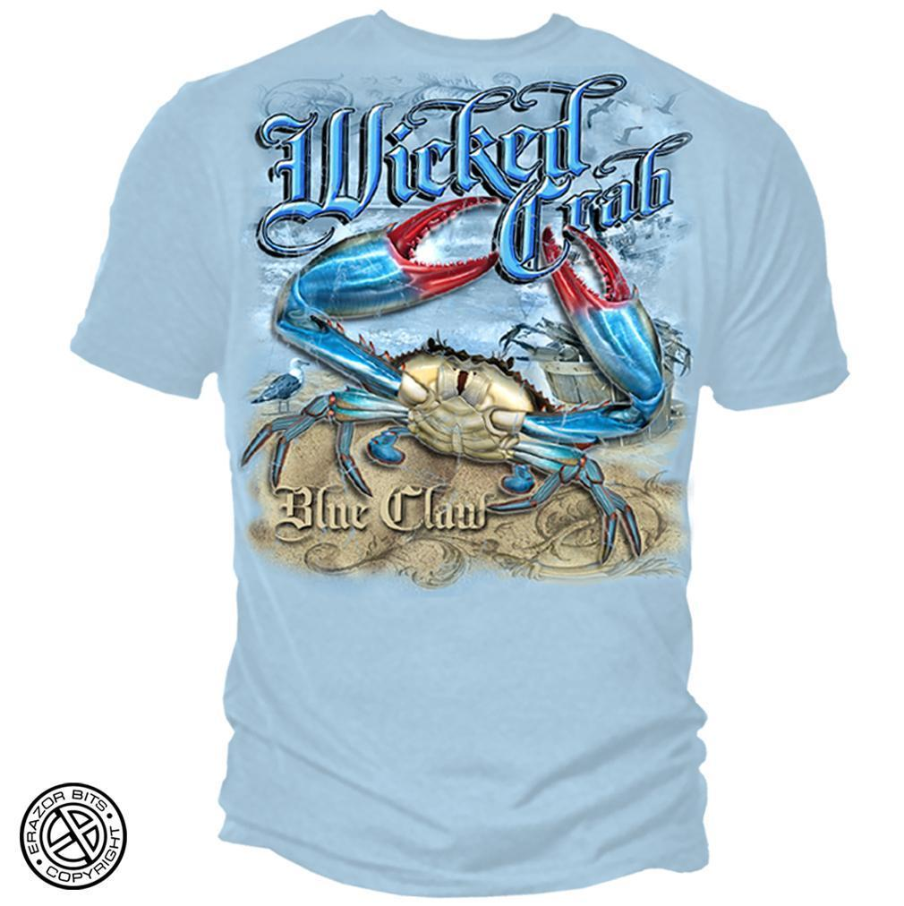 Erazor Bits T-Shirt - Wicked Fish - Wicked Crab - Light Blue