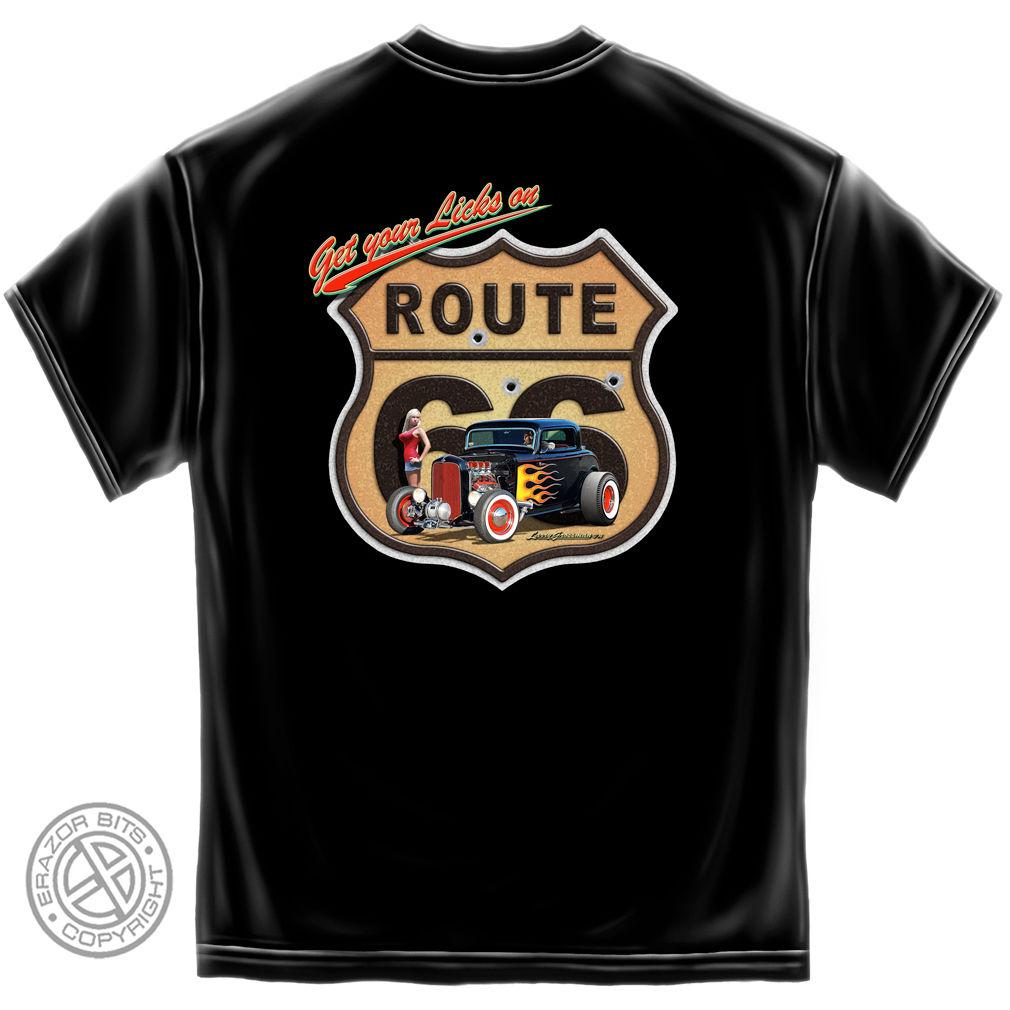 Erazor Bits T-Shirt - Hot Rod - Route 66 - Get Your Licks On - Black