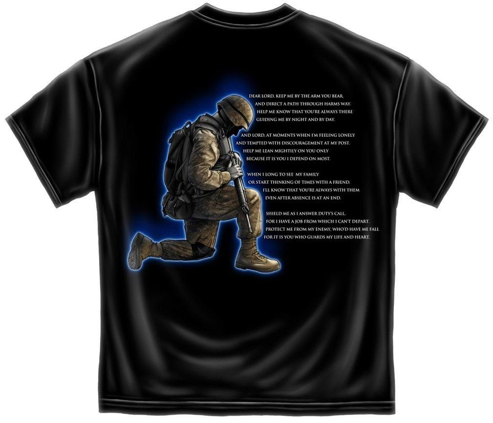 Erazor Bits T-Shirt Military Soldiers Prayer - Valor Service Honor - Black