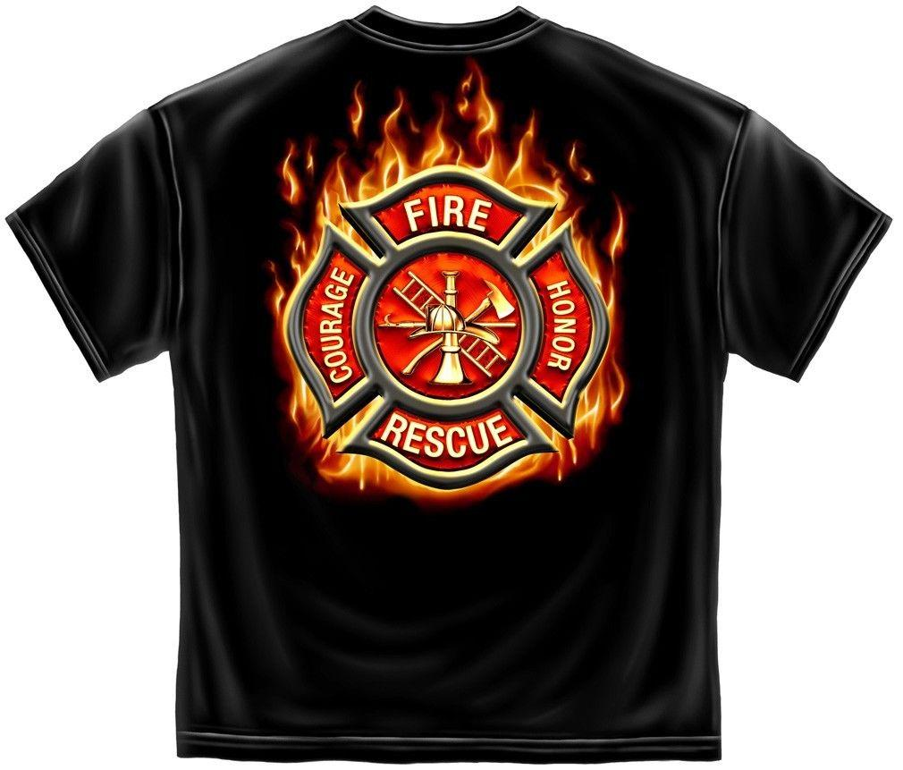 Erazor Bits T-Shirt- Fire Fighter - Classic Firefighter Maltese -  Black