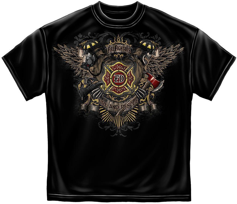 Erazor Bits T-Shirt- Fire Fighter -- FireFighter Skull Wings  - Black