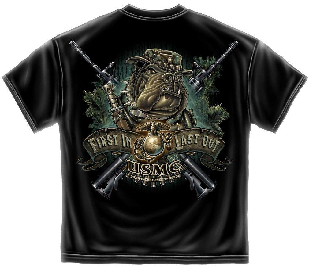Erazor Bits T-Shirt USMC Marines Devil Dog First In Last Out - Black