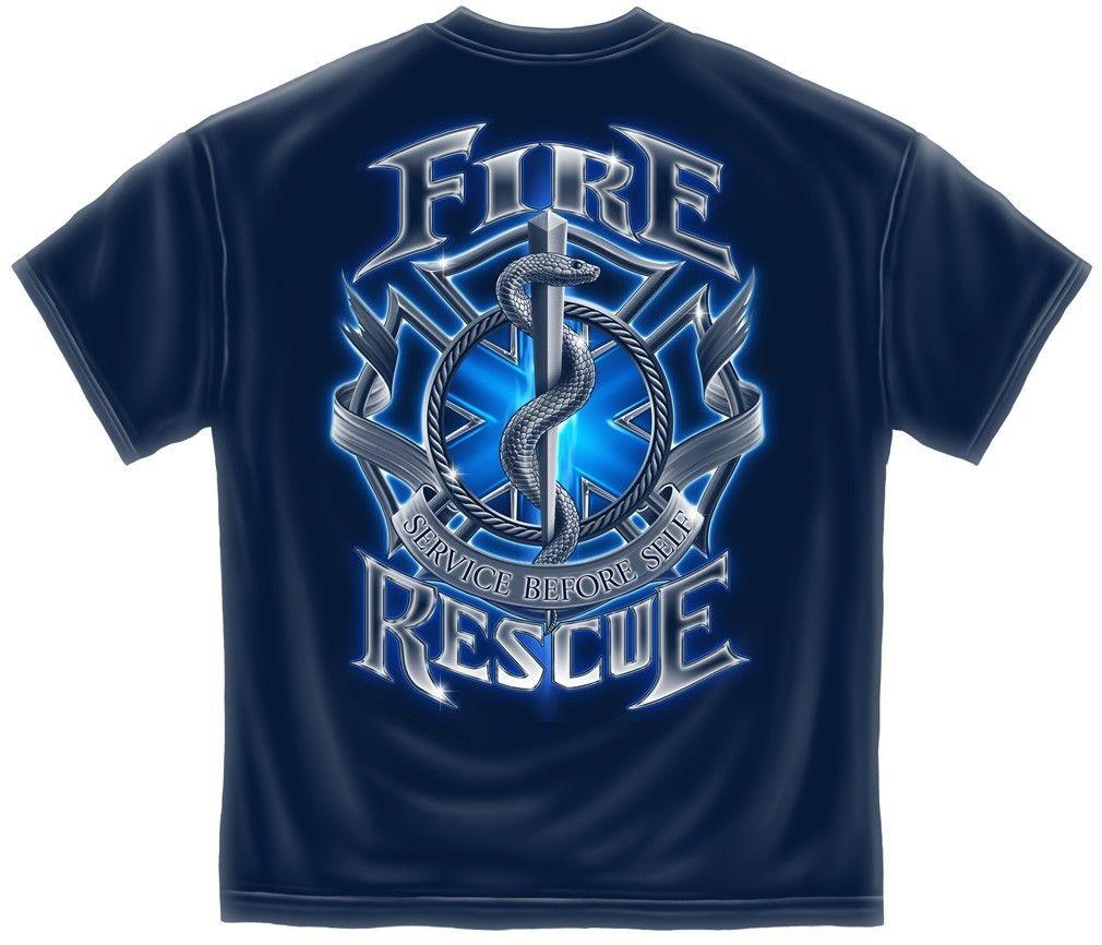 Erazor Bits T-Shirt Fire Fighter - Fire Rescue Firefighter-  Black