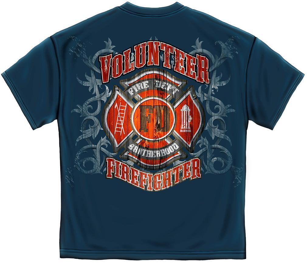 Erazor Bits T-Shirt - Fire Fighter -- Fire Department Faded Planks - Navy