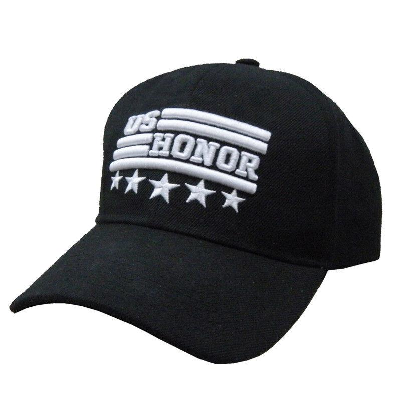 US Honor Stars USA Flag Logo Patriotic Black Hats Caps