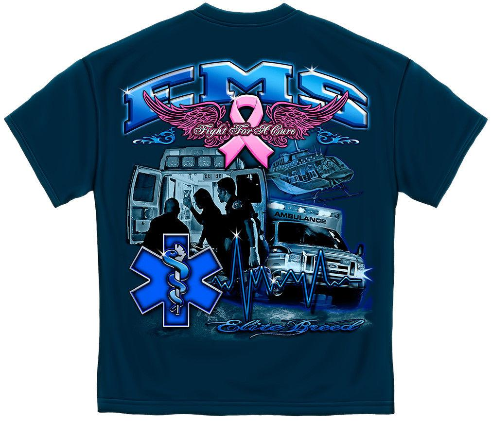 Elite Breed EMS Cross Fight Breast Cancer Awareness Pink Ribbon T-Shirt Unisex