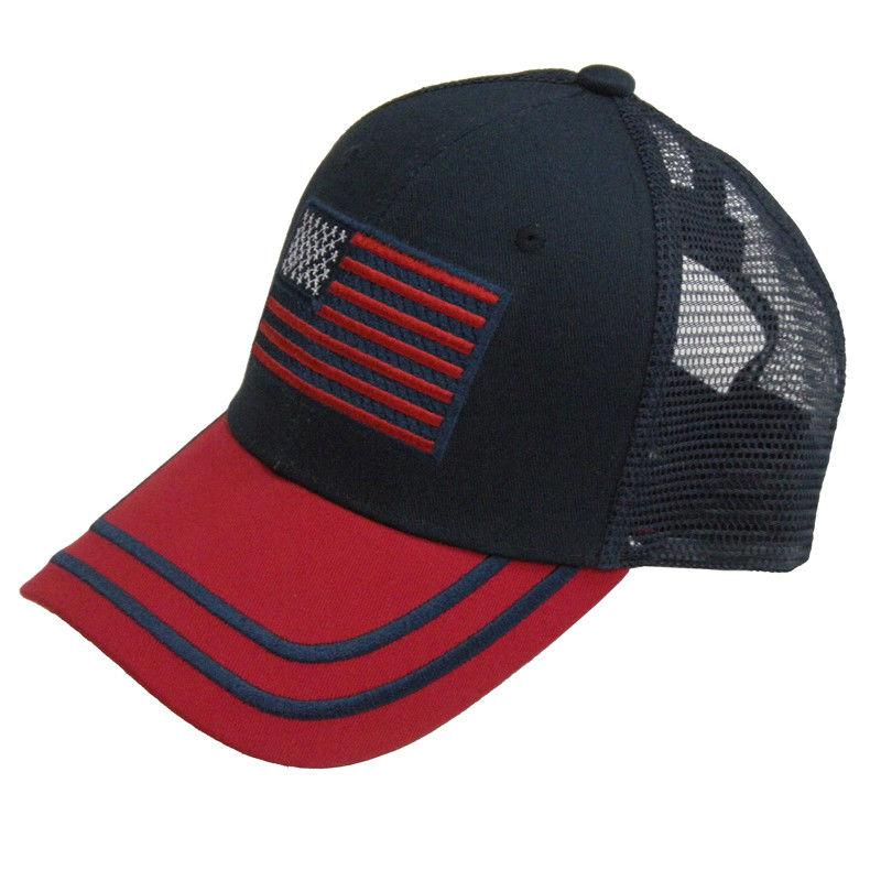 US HONOR American Flag Patriotic Cotton Trucker Hats Caps Blue