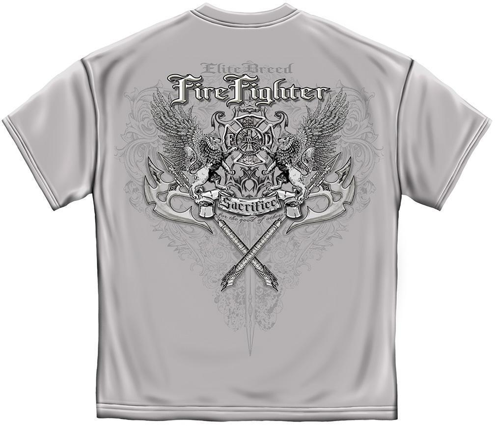 Erazor Bits T-Shirt - Elite Breed - Fire Fighter Sacrifice - Ice Gray