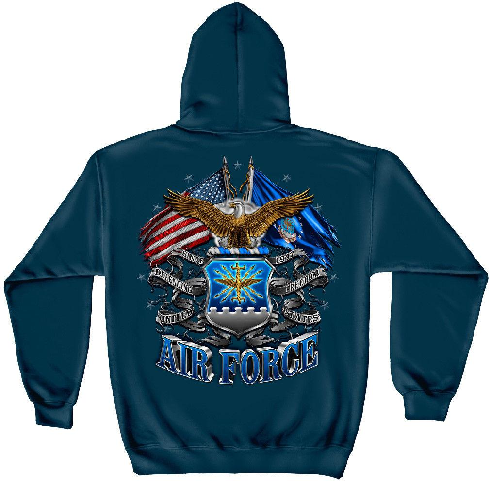USAF United States Air Force Eagle Double Flag Patriotic Hooded Sweatshirt