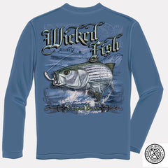 Erazor Bits Long Sleeve T-Shirt - Wicked Fish - Striped Bass - Blue